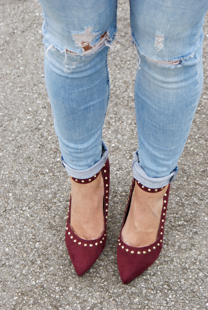 Red High Heels with rivets