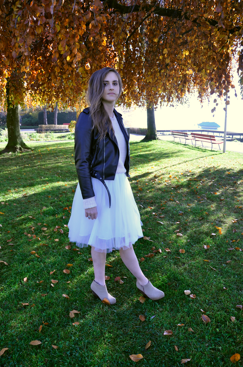 Tulle skirt with a sweater and biker leatherjacket from Zara