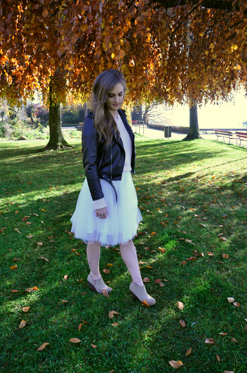 Tulle skirt with a sweater and a biker leatherjacket from Zara