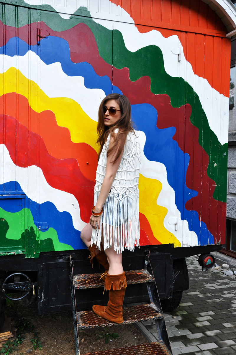 In love with Boho. Vest and shirt from H&M with shorts from Forever 21 and Shoes from Steve Madden. Sunglasses is from VIU.