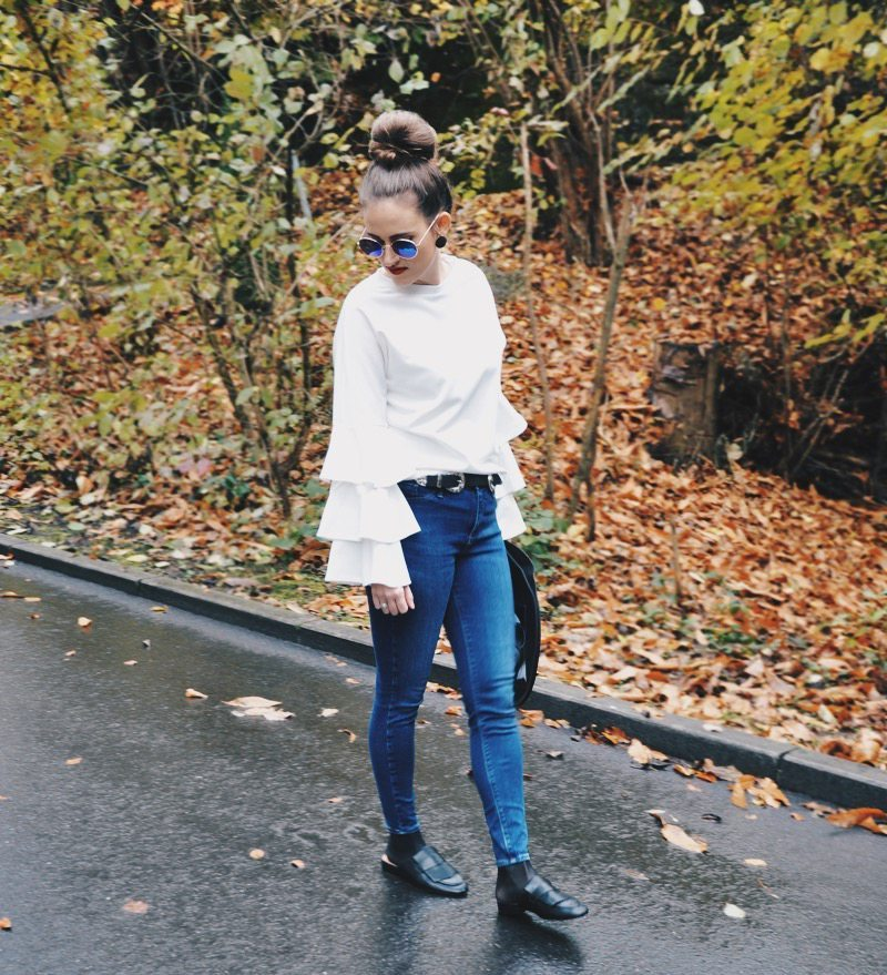 Ruffle-Shirt from shein.com with skinny jeans and belt from River Island. Shoes and sunglasses are from H&M and the bag was a gift.