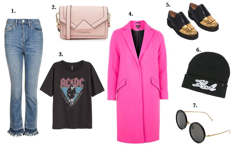 My Look in January is a pink coat and jeans from Topshop, with a ACDC Shirt von H&M. The bag and and beanie are from Karl Lagerfeld, the sungalsses from Linda Farrow and shoes from Marni.