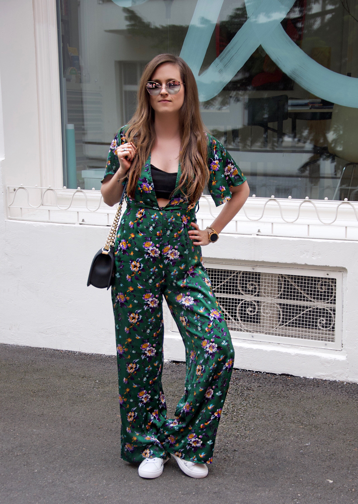 Strawberries 'n' Champagne, a fashion Blog by Andrea Steiner based in Lucerne, Switzerland is wearing the perfect sunglasses by Silhouette Eyewear and a colorful jumpsuit.