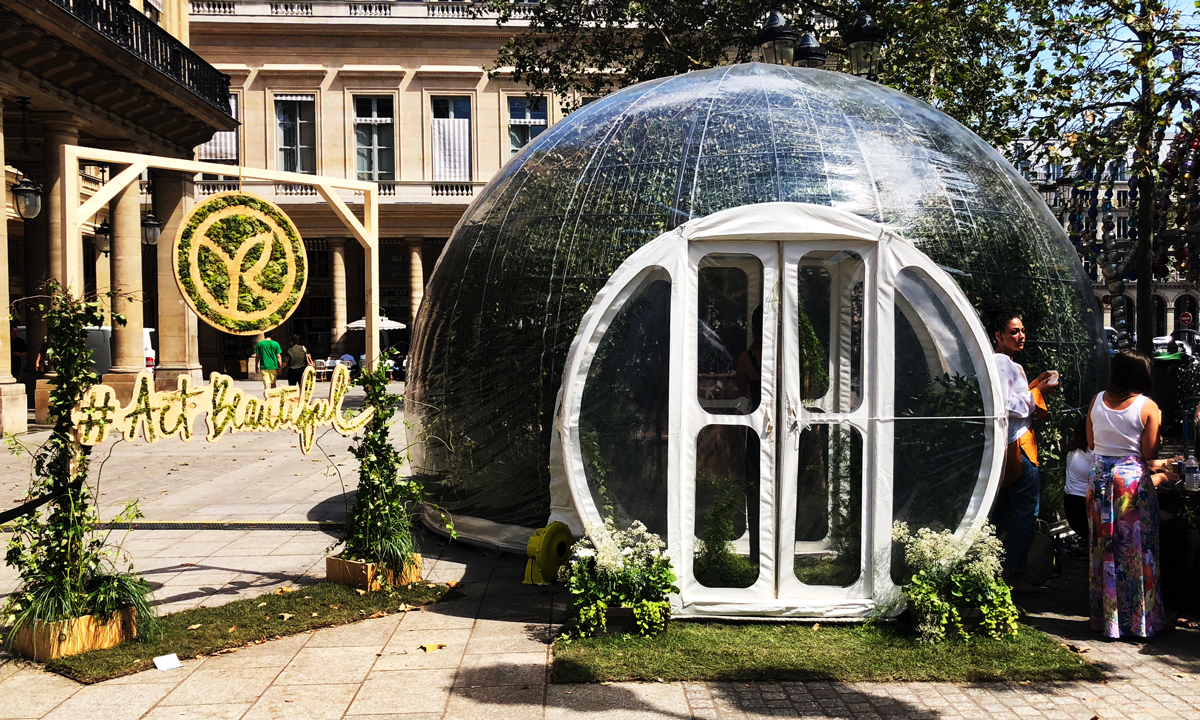 The botanical Bubble from Yves Rocher at Place Colette in Paris.