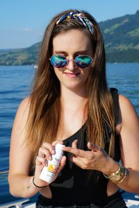 Andrea Steiner, fashion blogger from Strawberries n Champagne tested the sun protection Eucerin.